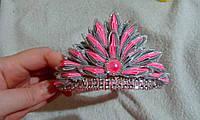 """Диадема-корона детская на ободке """"Розово-серая с серебристым"""""""