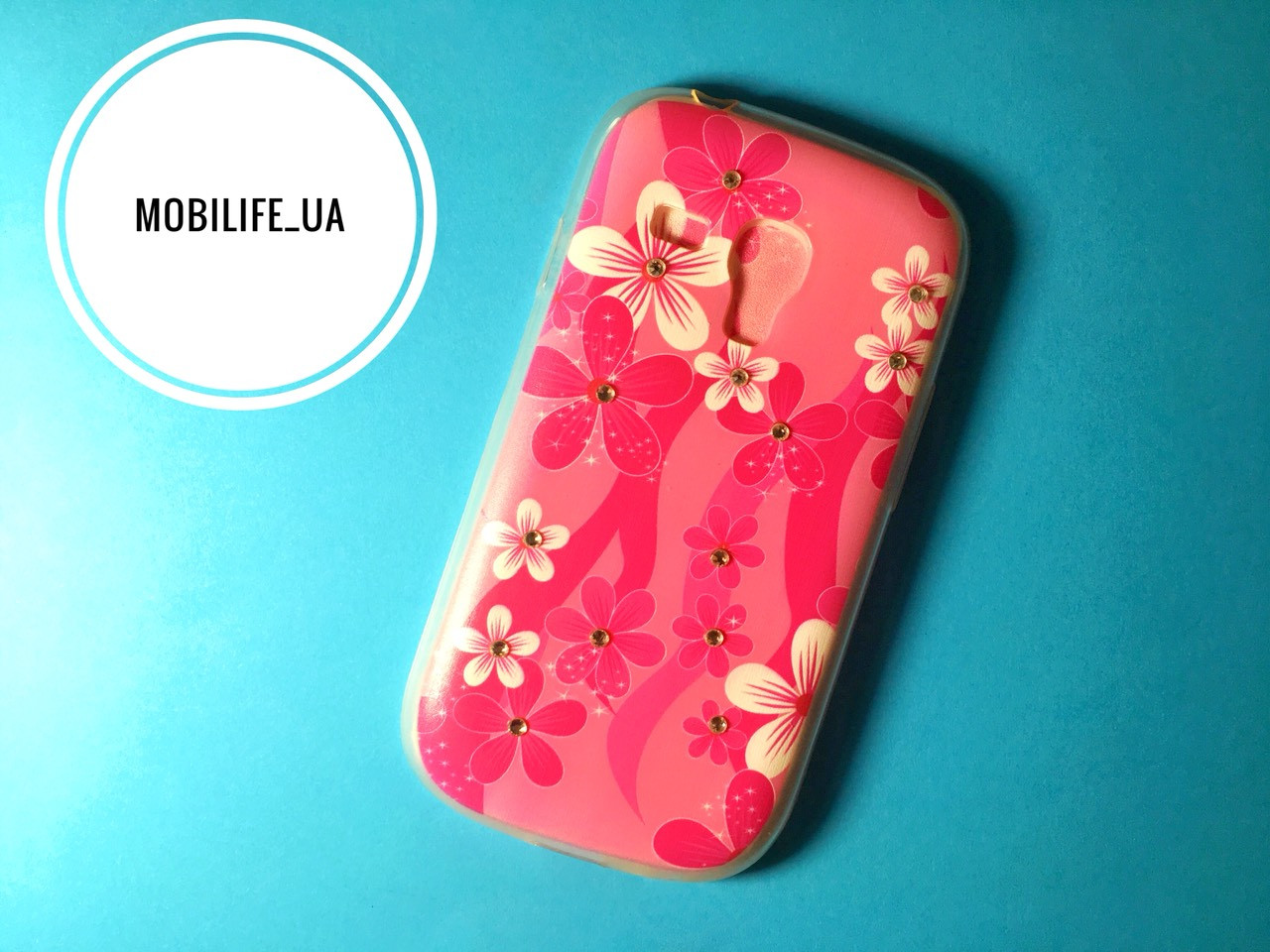 Чехол Samsung i8190 Цветы/Силиконовый Чехол/