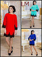Платье р42,44,46,48,50 Руби новогоднее синее красное бирюзовое вечернее женское праздничное горчица с кружевом