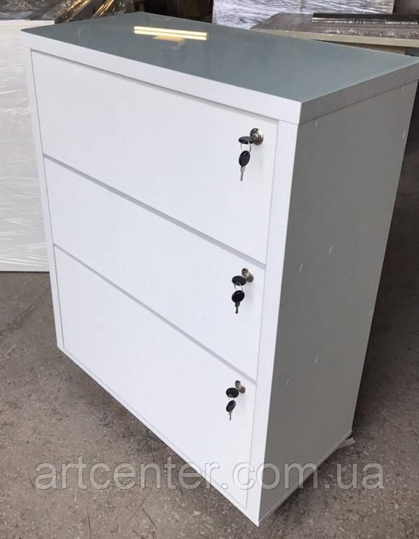 ТУМБА белая с тремя выдвижными ящиками без ручек