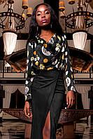 Женская блуза-рубашка Сальвини черного цвета