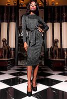 Женское платье Шарлиз с длинным рукавом и брошью черного цвета