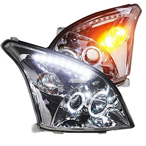 Штатная головная оптика с LED ангельскими глазками 2003 по 2008 год LD для Toyota Prado FJ120