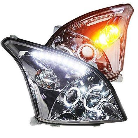 Штатная головная оптика с LED ангельскими глазками 2003 по 2008 год LD для Toyota Prado FJ120, фото 2