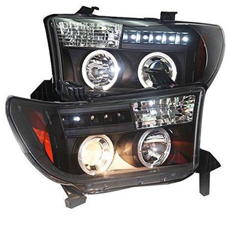 Штатная для Toyota Tundra головная оптика с LED ангельскими глазкамиs Front Lights 2007 по 2013 год черный ободок SN, фото 2