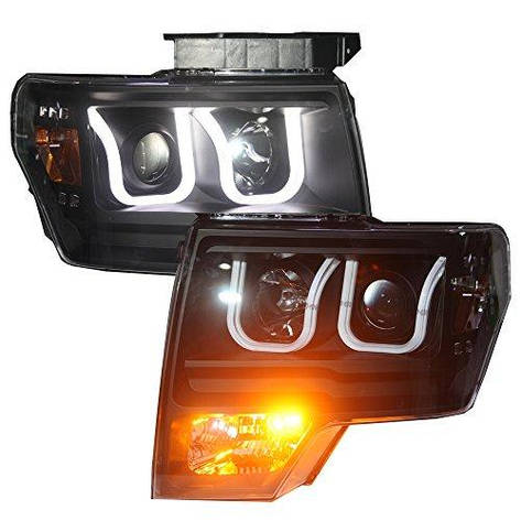 Штатная 2013 по 2015 год для Ford Raptor F-150 LED U Style головная оптика с ангельскими глазками LF, фото 2