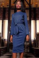 Женское платье Шарлиз темно-синее с длинным рукавом и брошью