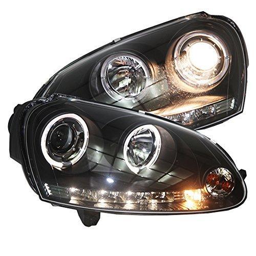 Штатная 2003 по 2008 год для Volkswagen Golf 5 MK5 головная оптика с LED ангельскими глазками черный ободок SN