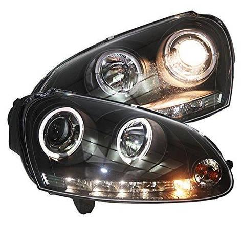 Штатная 2003 по 2008 год для Volkswagen Golf 5 MK5 головная оптика с LED ангельскими глазками черный ободок SN, фото 2