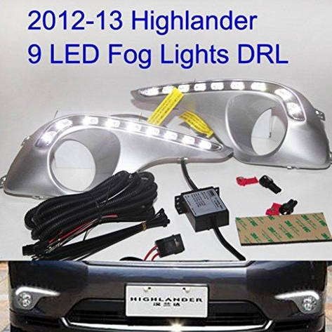 Штатная 2012 по 2013 год для Toyota Highlander Kluger LED Fog Lamps Daytime Running Lights, фото 2