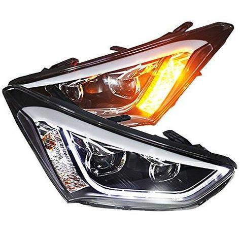 Штатная для Hyundai Santa Fe IX45 головная оптика с LED полосой 2013 по 2015 год TLZ, фото 2