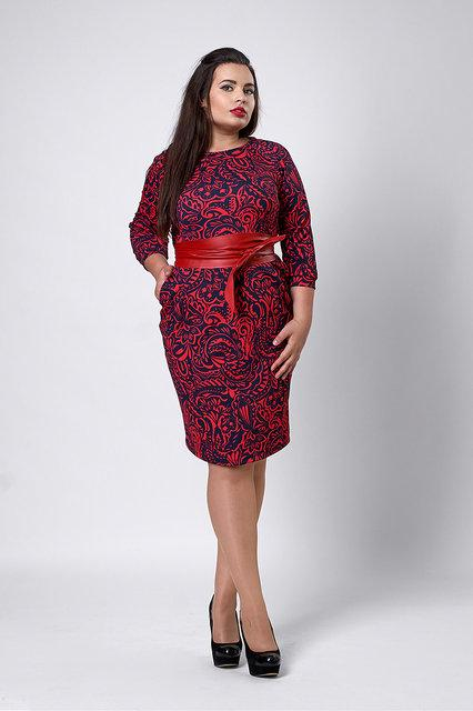 Платье с карманами и поясом красное