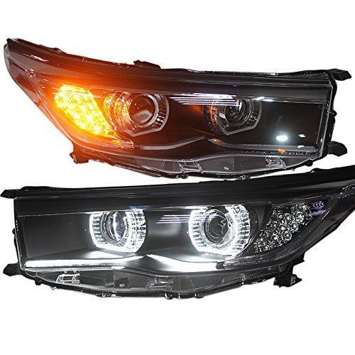 Штатная Toyota Highlander Kluger 2015 год головная оптика с LED ангельскими глазками LF