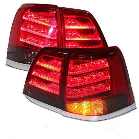 Штатная Toyota Land Cruiser FJ200 LC200 2008 по 2013 год LED задняя оптика красный черный YZ, фото 2