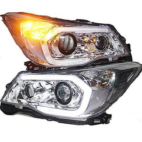 Штатная 2013 по 2015 год для Subaru Forester головная оптика с LED полосой с Bi Xenon линзой PW, фото 2