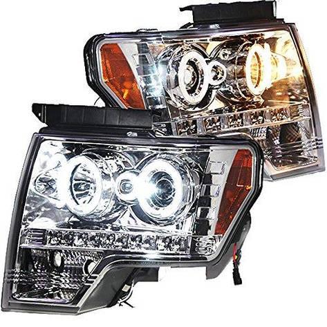 Штатна для Ford Raptor F-150 CCFL головна оптика з ангельськими очками 2008 по 2012 рік сріблястий обідок, фото 2