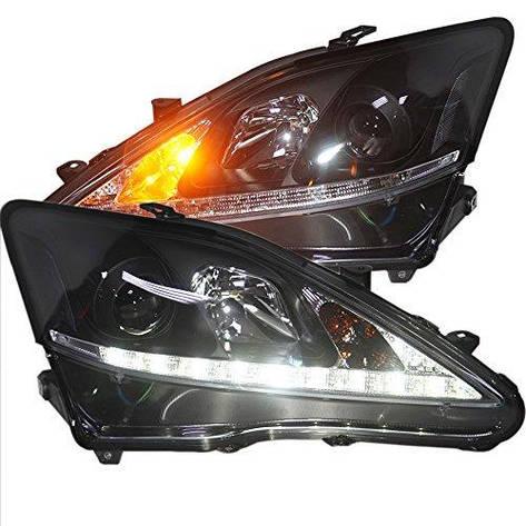 Штатная 2006 по 2012 год для Lexus IS250 IS300 IS350 LED головная оптика черный ободок SN, фото 2
