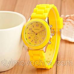 Силиконовые кварцевые наручные часы 100-17, желтый