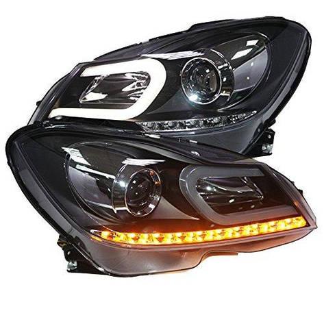 Штатная для Mercedes-Benz W204 головная оптика с LED полосой Bi Xenon линзой 2012 по 2013 год C Type, фото 2