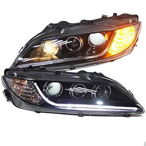 Штатная головная оптика с LED ангельскими глазками 2003 по 2013 год TLZ для Mazda 6, фото 2