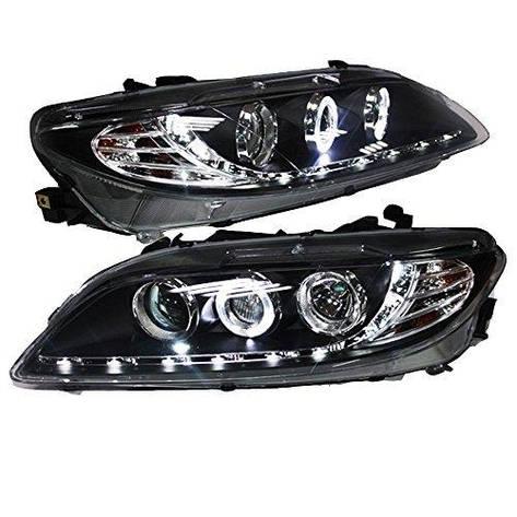 Штатная головная оптика с LED ангельскими глазками 2003 по 2013 год LD для Mazda 6, фото 2