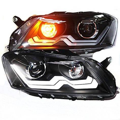 Штатная головная оптика с LED полосой LDV2 Bi Xenon линзой 2012 по 2014 год для Volkswagen Magotan Passat B7 European Version, фото 2