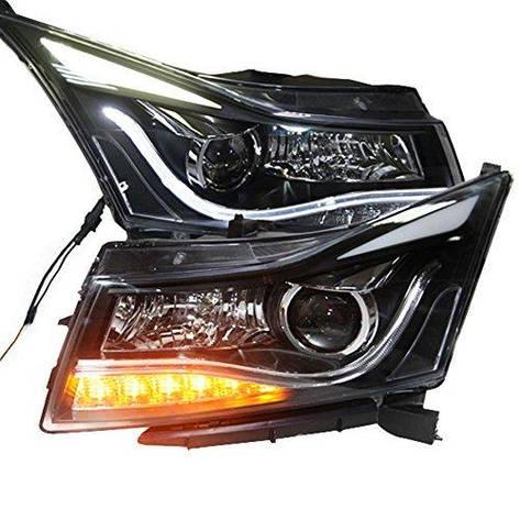 Штатная LED головная оптика Angel Eyes 2009 по 2012 год SY для Chevrolet Cruze, фото 2