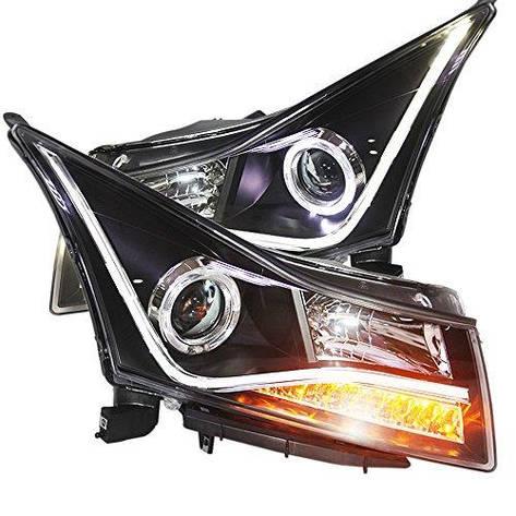Штатная головная оптика с LED полосой Angel Eyes с Bi Xenon Project Lens 2009 по 2012 год LDV2 для Chevrolet Cruze, фото 2