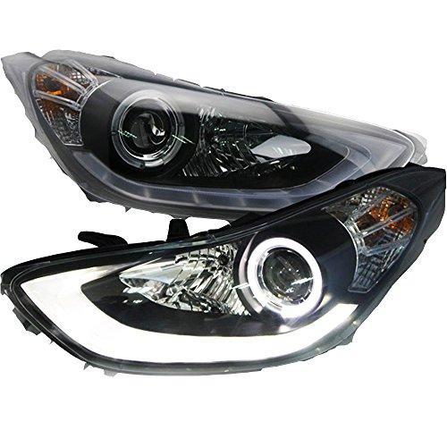 Штатная LED головная оптика 2012 по 2013 год Angel Eyes SN для Hyundai Elantra