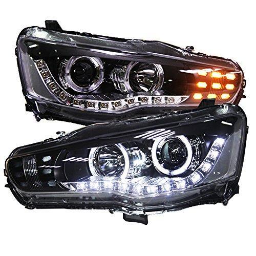 Штатная 2008 по 2013 год для Mitsubishi Lancer Exceed головная оптика с LED ангельскими глазками PW