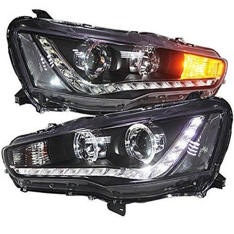 Штатная головная оптика с LED ангельскими глазками2008 по 2013 год YZV1 для Mitsubishi Lancer exceed, фото 2