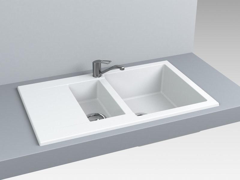 Кухонная мойка из искусственного камня 78*49*20 см Miraggio LaPAS белый