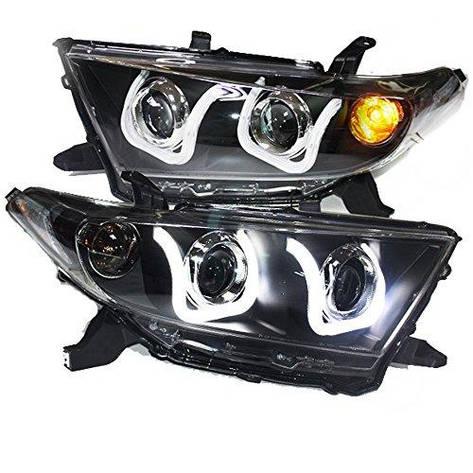 Штатная LED U Angel Eye головная оптика 2012 по 2013 год LD для Toyota Highlander Kluger, фото 2