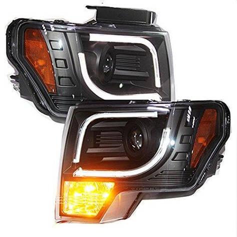 Штатная передние фары с LED полосой 2008 по 2012 год Halogen Turn Light для Ford F150 Raptor, фото 2