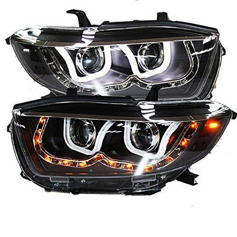 Штатная LED U Angel Eye головная оптика 2008 по 2011 год LD для Toyota Highlander, фото 2