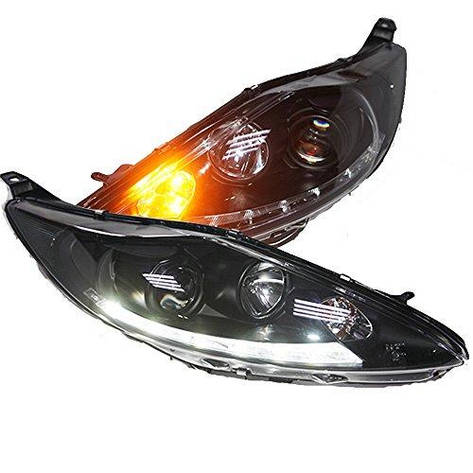 Штатная головная оптика с LED полосой с Bi Xenon линзой 2009 по 2013 год SN для Ford Fiesta, фото 2
