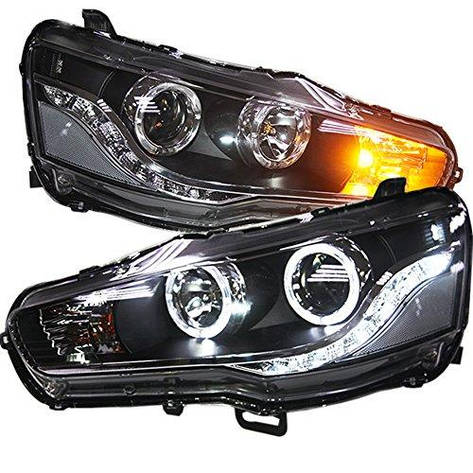 Штатная 2008 по 2013 год для Mitsubishi Lancer Exceed головная оптика с LED ангельскими глазками LD, фото 2