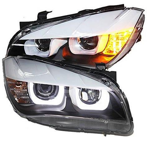 Штатная LED головная оптика с HID Kit U Angel Eyes 2012 по 2014 год для BMW X1 Original Car сout Xenon bulbs, фото 2