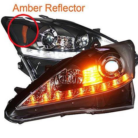 Штатная LED Headlamp 2006 по 2010 год JY для Lexus IS250 Amber Reflector черный ободок, фото 2