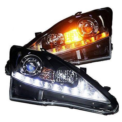 Штатная LED головная оптика 2006 по 2010 год JY для Lexus IS250 серебристый  Reflector черный ободок, фото 2