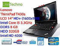 Ноутбук Lenovo ThinkPad T430s Core i5/DDR3 8GB/HDD 320GB/бат. 3ч/подсветка/гарантия