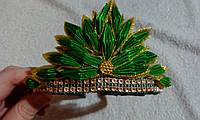 """Диадема-корона детская на ободке к карнавальному костюму """"Елочка с золотистым"""""""