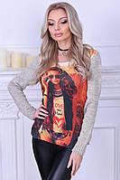 Вязаный женский свитер с принтом