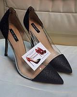 Женские туфли серебро черные  с клатчем