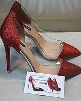 Женские туфли серебро красные  с клатчем и без