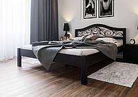 Кровать деревянная Италия К с ковкой из натурального дерева двуспальная