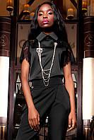 Женская блуза-рубашка Перис черного цвета из шелка