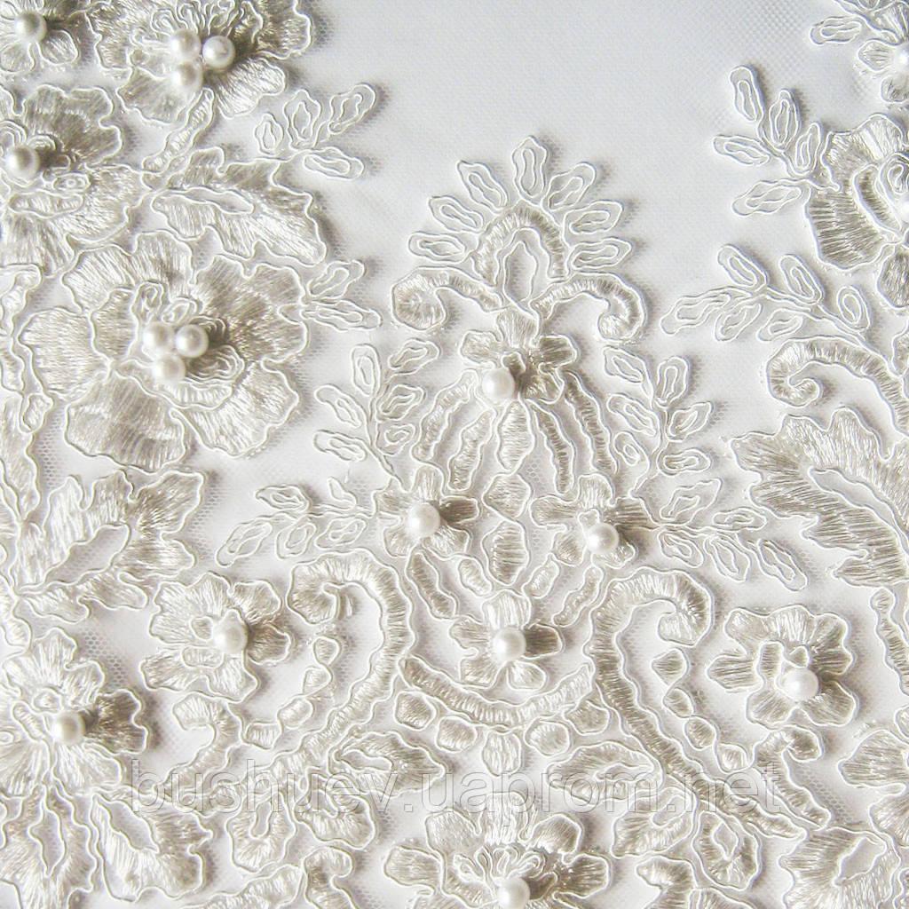 Сетка с вышивкой «Жемчуг» (P6803B)