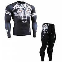 Компрессионный комплект рашгард и штаны Fixgear с волком