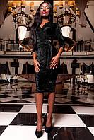 Женское платье Модус черное из гофрированного бархата